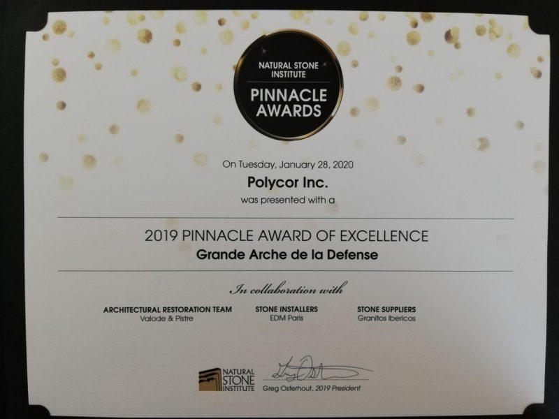 Premio Pinnacle Grande Arche de la Defense, París | Premio para Granitos Ibéricos